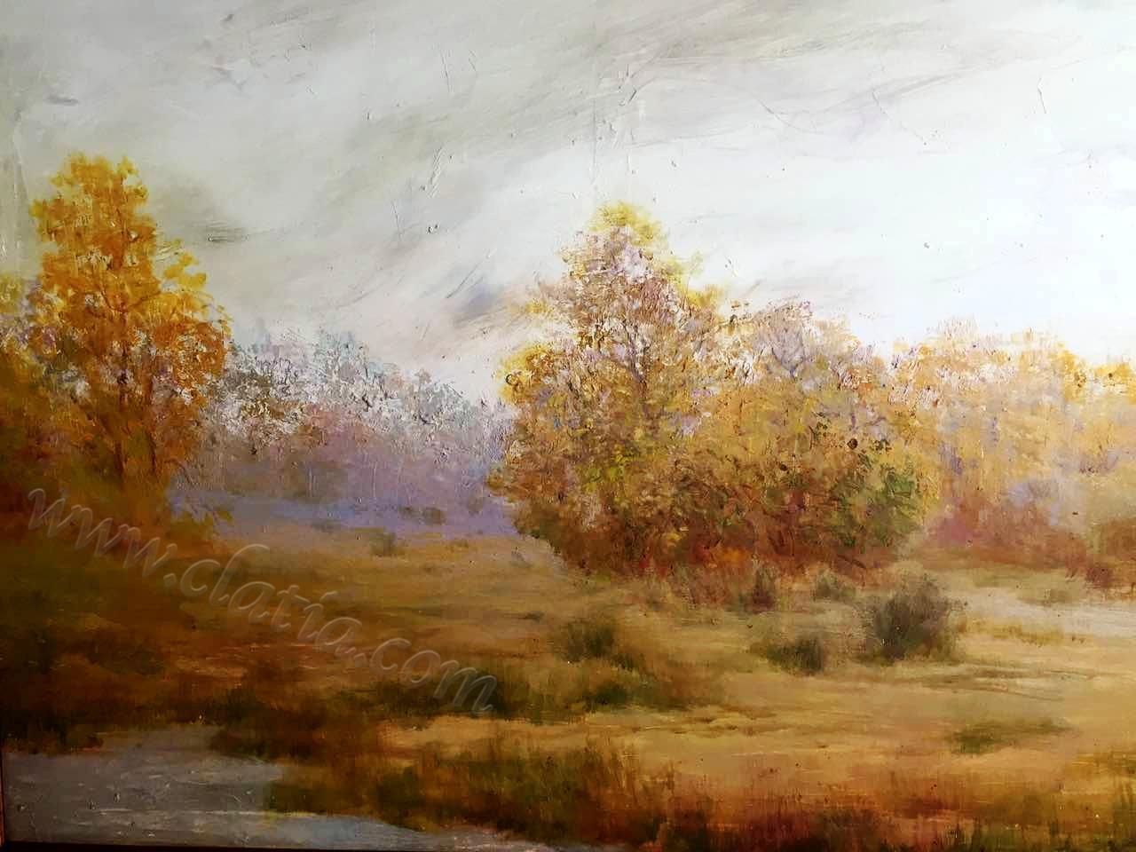 深秋印象 - 亚麻布面油画