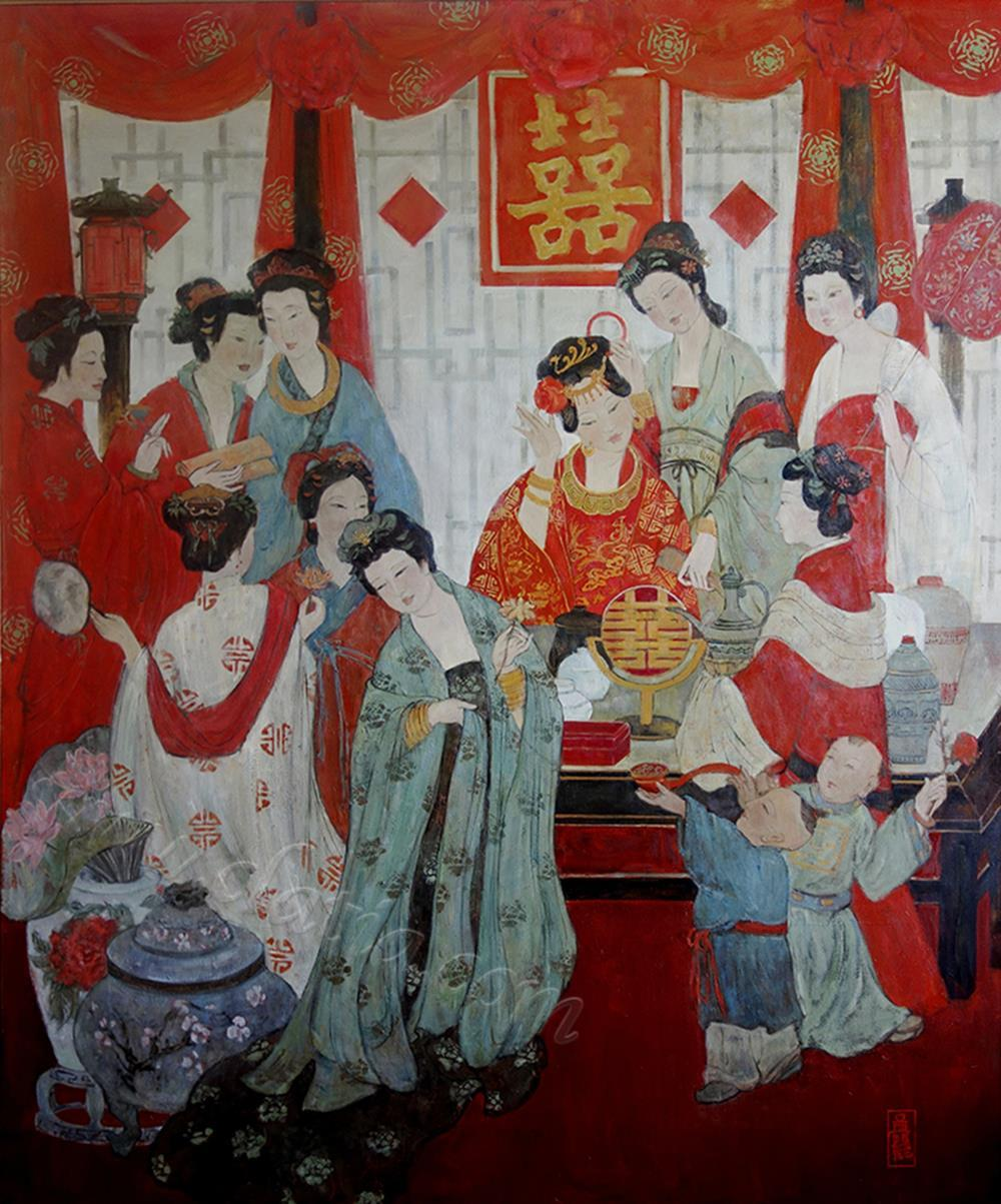 新娘 - 亚麻布面油画