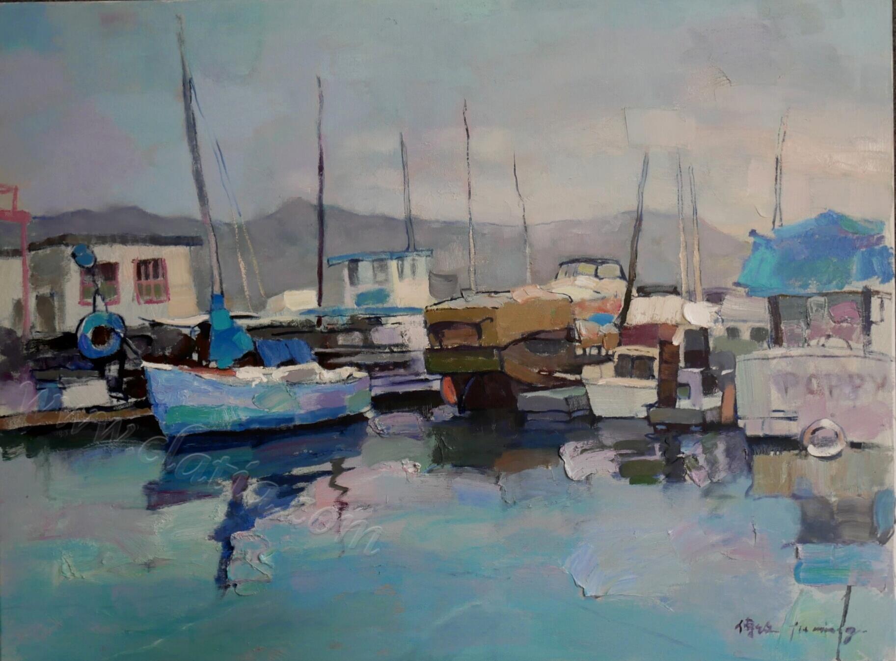 《旧金山萨沙雷通码头》布面油画