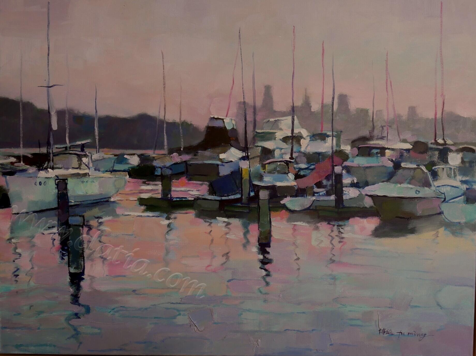 《旧金山远眺》布面油画