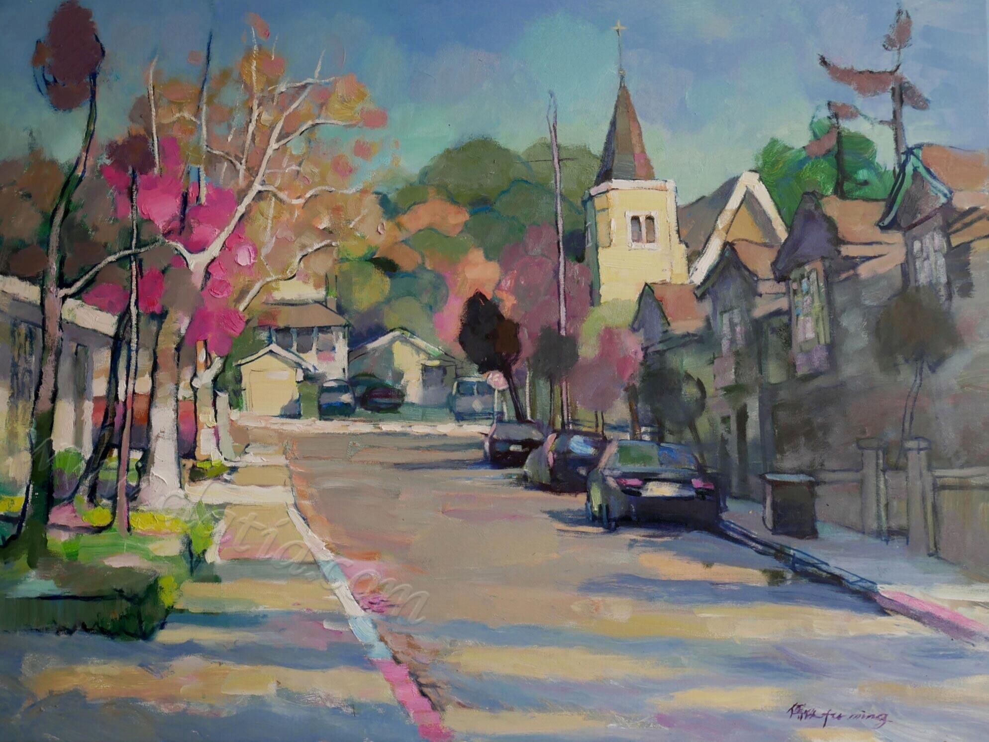 《红树与教堂》布面油画